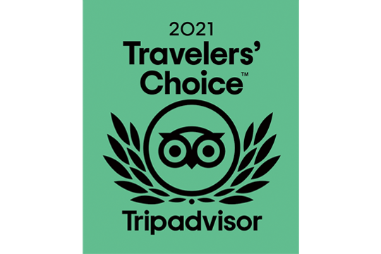 Tripadvisorの「Travelers' Choice Award 2021」を受賞しました。
